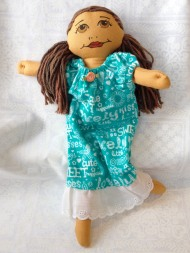 nightgown in teal with eyelet trim