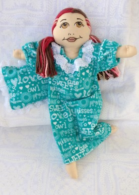 nightgown in teal with pillow