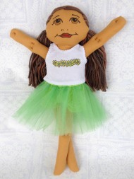 tutu in green with plumeria tank top