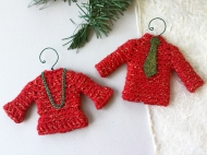 His and Hers sweater ornament set in red with metallic gold.
