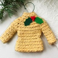 Sweater ornament in country yellow with holly leaves and berries