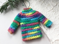 Sweater ornament in mixed rainbow colors