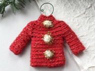 Sweater ornament in red with metallic gold and pompoms