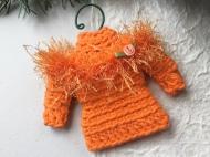 Sweater ornament in orange with ribbon rosette