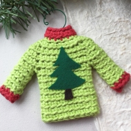 Sweater ornament in green and red with Christmas tree