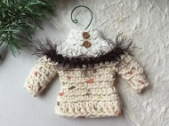 Sweater ornament in natural browns with eyelash trim and tiny buttons